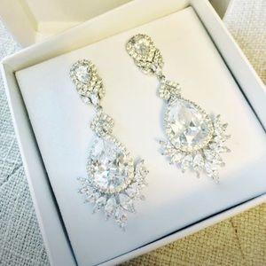 Jewelry - Powder Blue Bijoux  CZ Drop Dangle Bridal Earrings